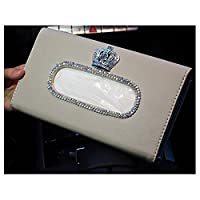LuckySHD 汽车太阳遮阳纸巾盒 带水晶皇冠 米色 均码 Car-0878
