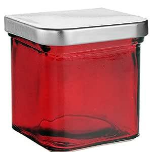 COURONNE CO 方形 recycled 玻璃蜡烛容器7527-c-p 25.4CM 高4盎司容量透明
