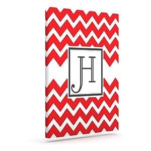 Kess InHouse KESS 原创交织字母 V 形红色字母 H 户外帆布墙壁艺术,25.4 x 30.48 厘米