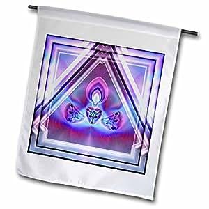 mimulux 迷幻艺术 —— psychedellica 03冥想浅 Chakra 和谐和平嬉皮 NewAge ORIENT 印度复古紫粉–旗帜 12 x 18 inch Garden Flag