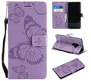NOMO Galaxy S9 Plus 手机壳,Galaxy S9 Plus 钱包手机壳,S9 Plus 手机壳带卡槽,翻转 PU 皮革蝴蝶手机壳带卡槽支架手机壳,适用于三星Galaxy S9 Plus, 浅紫色