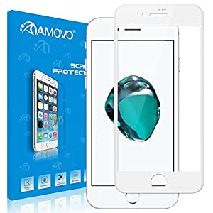 amovo iphone 8PLUS 屏幕保护 [ 保护套环保 ] [ 全覆盖 ] HD 0.20mm 钢化玻璃屏幕保护膜适用于 iPhone 8PLUS / iphone 7Plus iPhone 8/iPhone 7 (4.7'') White