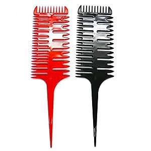 HUELE 2 件专业 3 向发梳编织和分叉发梳 黑色+红色