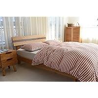 Jeanpop简璞 日式良品寝具 天竺棉针织床笠款四件套 裸睡级品质 婴幼儿可用 亲肤零刺激 1.8米床适用(棕红条纹)