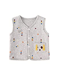 pureborn 婴儿男童无袖背心棉质轻质婴幼儿幼儿马甲上衣适用于3–24个月