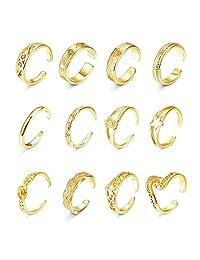 Florideco 12 件套女式露趾戒指套装花波纹乌龟叶带趾环可调节雕刻指环夏威夷*珠宝  金色调