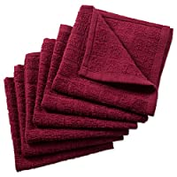 """DII 100% Cotton, Machine Washable, Ultra Absorbent, 12 x 12"""" Terry Kitchen Dish Cloths for Everyday Kitchen Basic, Windowpane Design Set of 6-Solid Wine"""