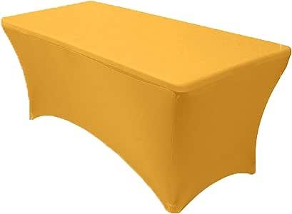 您的椅套 - 弹力氨纶 15.24 厘米矩形桌布 - 182.88 厘米长 x 76.20 厘米宽 x 76.20 厘米高 适合标准折叠桌布,派对桌布 金色 6 英尺