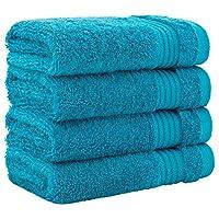 特大尺寸,厚实大号 * 纯棉,奢华酒店和水疗品质,吸水柔软装饰厨房和浴室土耳其毛巾 Ocean Aqua Washcloth Set - 4 Pack