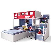 aok 多喜爱 多功能床 组合上下铺儿童床带衣柜书桌双层床高低床(高低床1.2 * 2.0+1.2 * 2m储物单床+双门衣柜+梯柜)