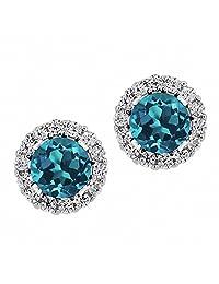 1.49 克拉 圆形 伦敦蓝 黄玉托帕石 搭配 白色 锆石 925银 耳环