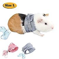 MYIDEA 小动物牵引绳胸带适用于阿富汗猪、刺猬、兔子 条纹蓝色 L