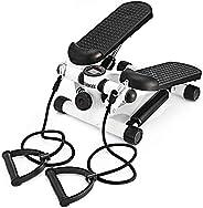 Outtive 迷你踏板,健身楼梯踏板 - 便携式旋转楼梯踏板可调节阻力,健身运动机带阻力带 耐用 LCD 显示屏和舒适的脚踏板
