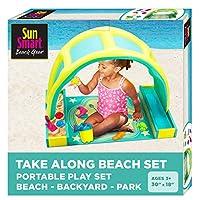 SunSmart 便携式海滩时间玩具套装 W/玩具和遮蓬