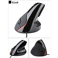 有线垂直鼠标 高级人体工程学设计鼠标 5 个按钮光学 USB 鼠标 适用于电脑游戏,适用于办公室、游戏、电脑、笔记本电脑、台式机(黑色)