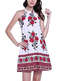 MISS MOLY Women's Casual Bohemian Floral Printed Stand Collar Sleeveless A-line Mini Dresses