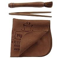 易信 泡茶三件套 功夫茶具套装茶道茶艺配件组合 茶巾茶夹茶叉 三件套