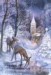 托兰 家居花园 冰雪 Fawns 31.75 x 45.72 cm 装饰性冬季池鹿教堂风景花园旗帜