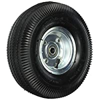 Shepherd Hardware 9634 4.10 x 10 英寸充气替换轮,10 英寸,锯齿齿齿齿齿轮,3-1/2 英寸偏移轮毂,5/8 英寸轴直径,球轴承