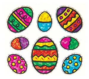 Jillson Roberts Prismatic Stickers, Mini Easter Eggs with Outline, Bulk Continuous Roll (BS7504)