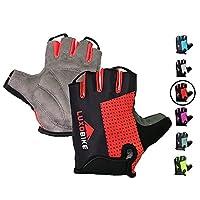 LuxoBike 自行车手套自行车手套自行车手套山地自行车手套 - 防滑减震衬垫透气半指短款运动手套配件 适用于男士/女士
