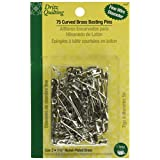 Dritz Size 2 Quilting Brass Curved Basting Pins, 75-Pack