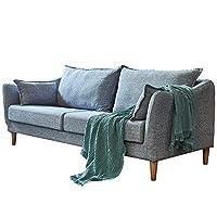 百伽 北欧简约三人沙发小户型客厅家具整装现代布艺多人沙发65901 三人位 灰色【亚马逊自营,供应商配送】