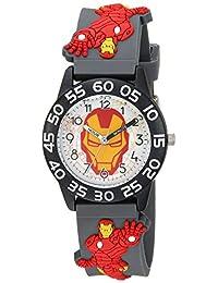 """MARVEL 男童""""钢铁侠""""石英塑料休闲手表,颜色:灰色(型号:WMA000034)"""