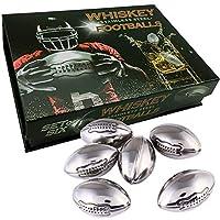 Whiskey Stones 礼品 8 件套不锈钢可重复使用的冰箱,带托盘和夹子。 适用于威士忌或葡萄*爱好者的*吧配件。 TANGRA 制造的无稀释、口味或气味和冷却立方体和岩石。