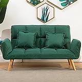 折叠实木脚沙发床棉麻布艺沙发榻榻米日式客厅小户型家居沙发办公接待简易躺椅沙发 (深绿色(送抱枕))