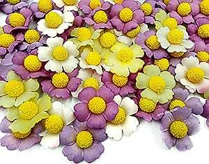 NAVA CHIANGMAI 100 件 玫瑰花瓣 30x30 毫米。 人造花瓣桑蚕纸花卉工艺纸花卉剪贴簿,婚礼用花品 紫色 P04