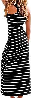 PRIMODA 女式无袖低圆领工字背长裙宽松条纹长裙背心裙