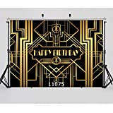 WOLADA 20.32cm x 15.24cm 生日快乐摄影背景 Great Gatsby 成人 儿童派对黑金色横幅照片 工作室Booth 新生儿婴儿照片背景 11075
