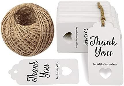 100 件 Thank You for Celebrating with US Paper Gift Tag,带 100 英尺细绳,适合婚礼派对礼物 白色 G2PLUS