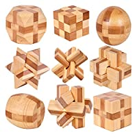 baby木玩 竹制益智玩具孔明锁鲁班锁圆球锁正方锁十四面体整套发货共9款 锻炼空间思维能力