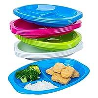 12 件装 - 分体塑料儿童餐盘 - 带分隔的幼儿餐盘 - 儿童餐盘可用洗碗机清洗和微波炉 - 不含 BPA 儿童餐盘 - 婴儿喂食餐盘 - 4 种颜色鲜艳