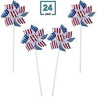 4E's Novelty 爱国风车 - 7 月 4 日装饰风车 - 美国国旗主题风车适用于花园装饰、派对装饰、派对装饰、七月 4 日装饰
