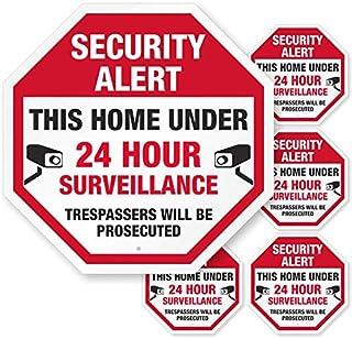 "SmartSign""*警告 - 此财产在 24 小时内监控,入侵者将被起诉""标志和标签 Two-sided Decals for Windows, Doors LB-4128-W2-6x9.5"