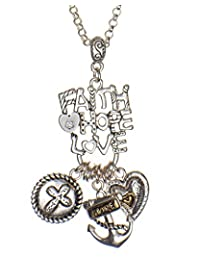 Jewelry Nexus Faith Hope Love 心形锚吊坠 Rolo 链项链