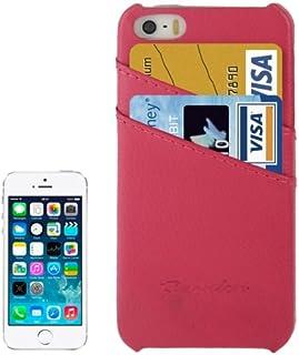 alsatek 保护套 PU 皮革适用于 iPhone 5/5S,主题品红荔枝纹理门卡一体化