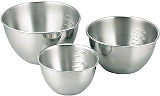 SHIMOMURA KIHAN 下村企販 餐具 不锈钢碗 3件 13・11・9cm 带刻度 日本制造  29131