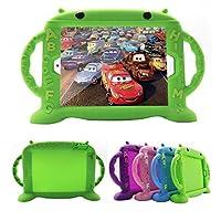 iPad 保护套适用于儿童新 ipad 2017/ IPAD PRO / IPAD AIR 12/ ipad 56可爱保护套7英寸通用防震硅胶防护盖带自支架 [ 不含 BPA ] [ SIDE 手柄 ] 绿色