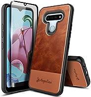 E-Began LG Stylo 6 手机壳带内置屏幕保护膜,全机身保护坚固防撞保护套,防震抗冲击耐用保护套适用于 LG Stylo 6(2020 版)-高级牛皮皮革棕色