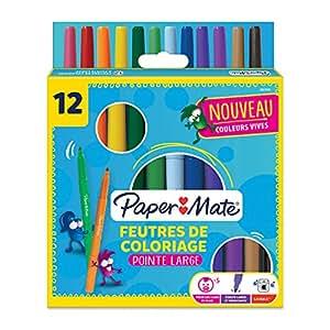 Paper Mate 2027641 Youth Art 厚实一套 12 支毛毡尖笔,各种颜色