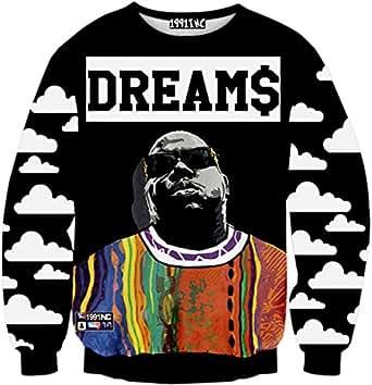 PIZOFF 中性款嘻哈 3D 数码印花套头运动衫 Y1759-n8 XX-Large