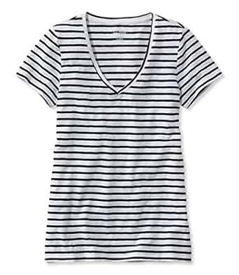 L.L.Bean女装T恤纯棉V领短袖舒适休闲时尚条纹TA502025 White/Classic Black XLarge