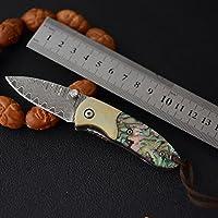 阿莱仕 高硬度户外刀大马士革钢折刀 鲍鱼贝手工水果刀 便携随身收藏礼品刀