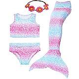 Camlinbo 3 件套美人鱼服装女孩沐浴泳装公主 Sea-Maid 比基尼套装