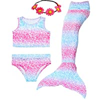 Camlinbo 3 件套美人鱼尾女式泳装泳衣 热带比基尼泳装泳衣