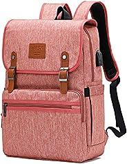 笔记本电脑背包书包学校学院书包复古背包适合女士男士 Pink-upgrade
